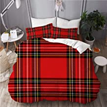 MOKALE Duvet Cover King Size,Christmas New Year Tartan Plaid Scottish,3 Piece Bedding Set with 2 Pillowcases(Doona Cover 2...