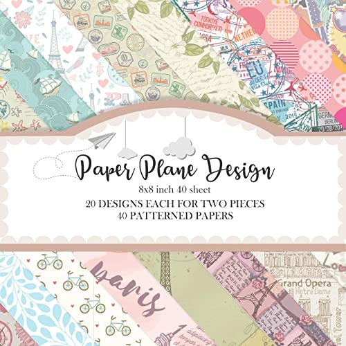 Paper Plane Design Multiple Pattern Craft Sheets | 40 Pack for Cricut, Silhouette Cameo, Craft Cutters, Printers, Let...