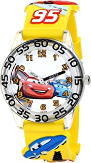 Disney Kids' W001506 Time Teacher Disney Cars Watch With Yellow 3-D Band