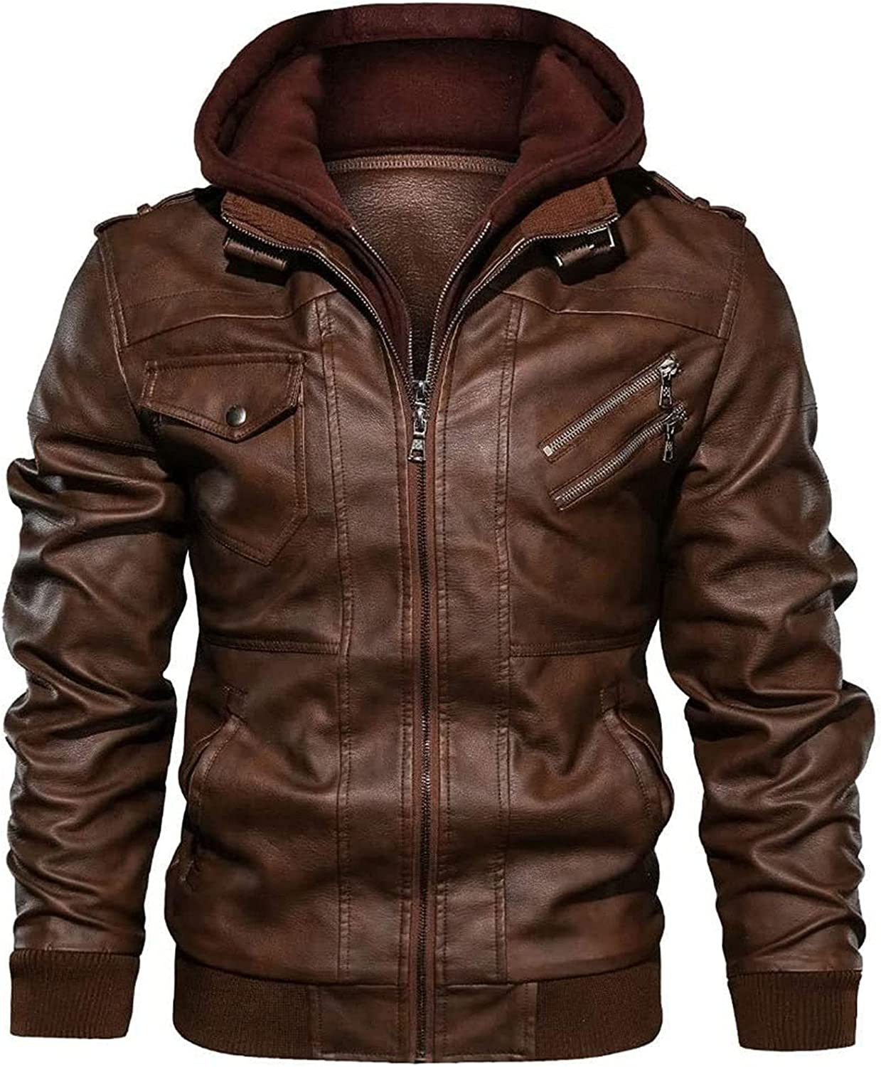 CAICAIL Casual Leather Jacket Men Autumn famous Zipper Slim Free Shipping New PU
