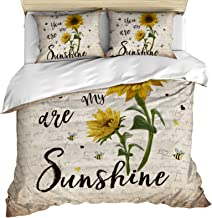 3 Piece Bedding Set Comforter/Quilt Cover Set Queen Size, You are My Sunshine Sunflower Vintage Newspaper Duvet Cover Set ...