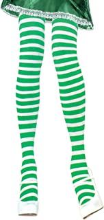 Green and White Striped Tights Green Striped Tights Women Elf Tights Green