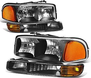 4Pcs Black Housing Amber Corner Headlight Bumper Light Lamp Replacement for GMC Sierra Yukon XL 1500 2500 3500 C3 99-07