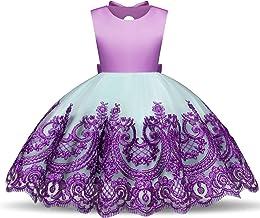 NNJXD Girl Elegant Violet Flower Printed Sleeveless Tutu Party Wedding Princess Dress