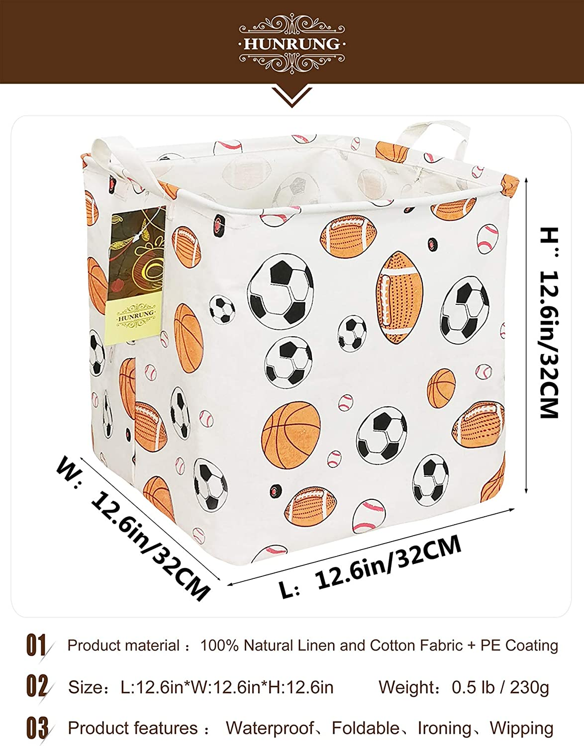 Square-Ball Game Bedroom HUNRUNG Square Storage Bins Nursery Hamper Canvas Laundry Basket Foldable with Waterproof Nursery Boxes for Shelves//Gift Baskets//Toy Organizer//Office