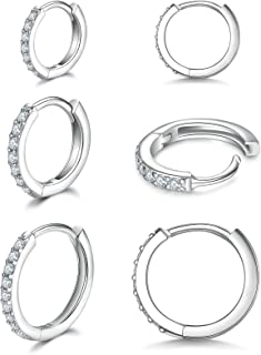 925 Sterling Silver Small Hoop Earrings Cubic Zirconia Huggie Hoop Earrings,3 Pairs Cartilage Piercing Earrings Ear Cuff Tiny Hoop Earrings for Women Girls Men 8mm 10mm 12mm