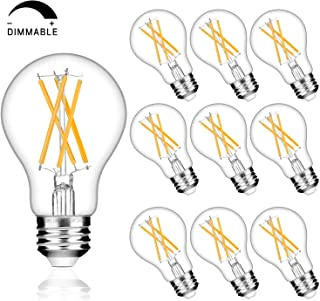 Dimmable A19 LED Edison Bulb 60W Equivalent, 2700K Soft White, 800LM, 8.5W Led Filament Light Bulbs E26 Medium Base Vintage Decorative Clear Glass for Home, Office, Cafes, Pack of 10