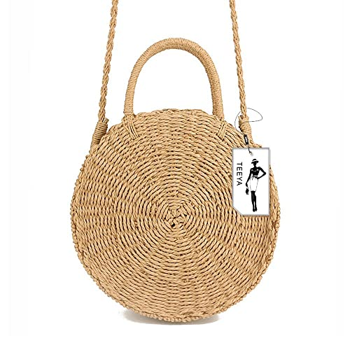 2c8a6531b07 Straw Crossbody Bag Women Weave Shoulder Bag Round Summer Beach Purse and  Handbags