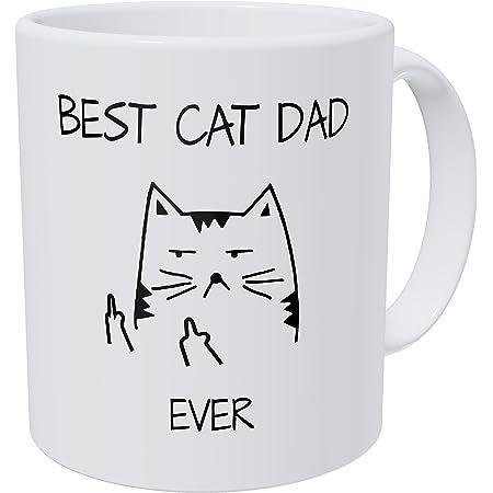 Wampumtuk Best Cat Dad Ever Cat Face Fingers 11 Ounces Funny Coffee Mug