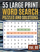 55 Large Print Word Search Puzzles and Solutions: Activity Book for Adults and kids Full Page Seek and Circle Word Searches to Challenge Your Brain ( Find Words for Adults & Seniors Vol. 88 )