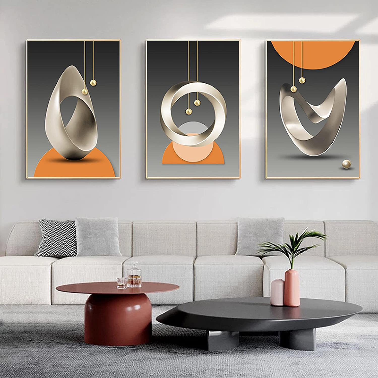 Abstract Orange Grey Geometric safety Canvas Art Paintings Wall Posters Limited time cheap sale