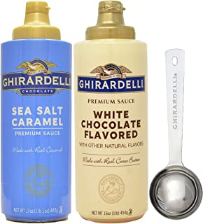 Ghirardelli - Sea Salt Caramel and White Chocolate Flavored Sauce (Set of 2) - with Limited Edition Measuring Spoon