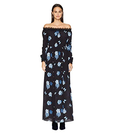 The Kooples Long Dress with Wide Rose Print China Crepe (Navy) Women