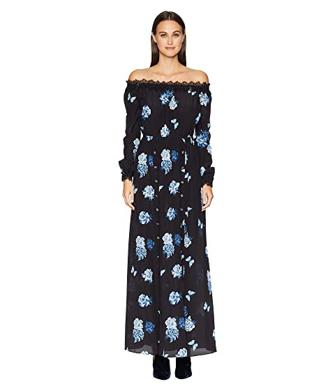 The Kooples Long Dress with Wide Rose Print China Crepe