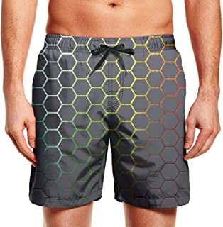 Quenei Miex Men's Colorful Abstract Seamless Circle Pattern Sportwear Quick Dry Board Shorts with Lining