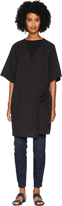 Organic Cotton Crepe V-Neck Kimono Elbow Sleeve Jacket