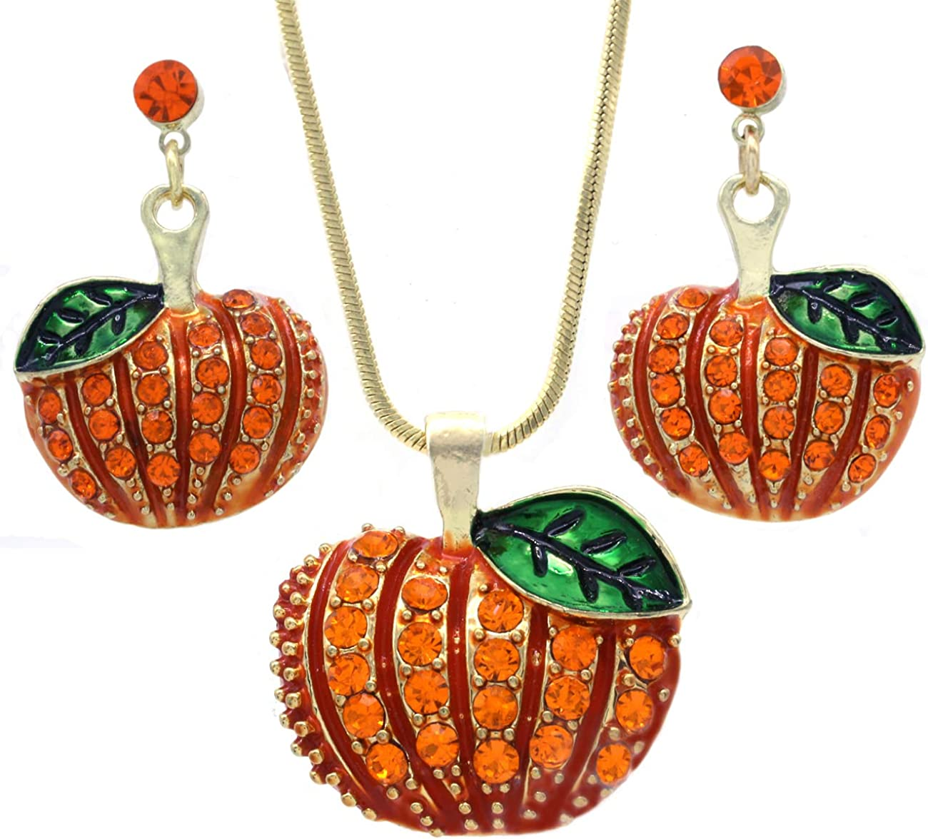 SoulBreezeCollection Small Cute Happy Halloween Fall Thanksgiving Pumpkins Pierced Earrings Jewelry