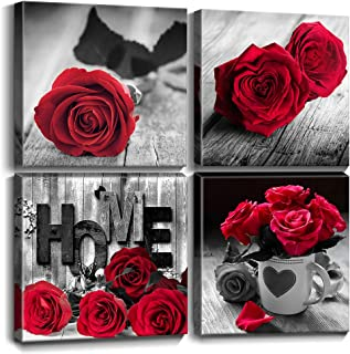YOOOAHU Red Rose Flower Wall Art Bedroom Room Decor Black and White with Red Lover Couple Gift Canvas HD Print Painting Pictures Bathroom Kitchen Office Love Theme Decoration Set 4 Panels 12x12 Inch