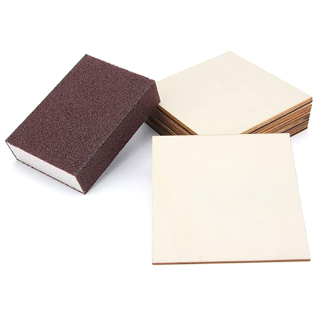 12 Pieces 4 Inch Unfinished Wood Plaques with Sanding Sponge, Blank Wood Pieces, Square Wood Drink Coasters, Blank Wood Signs for Painting, Writing, DIY Supplies, Engraving, Home Decorations