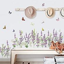 decalmile Muurtattoos Lavendel bloemen Muur hoek stickers Gras Plint Muurstickers Wanddecoratie Slaapkamer Huiskamer Kanto...