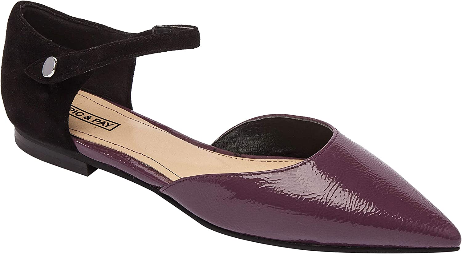 LEA   Pointy Toe Two Piece Ankle Strap Flat Patent Comfortable Insole Padded Arch Support (New Fall)