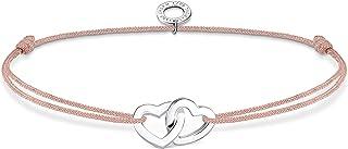 THOMAS SABO Armband mit Zwei Herzen Beige, aus Nylon und 925 Sterlingsilber, 20cm, LS121-173-19-L20V