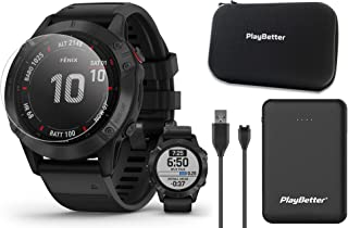 Garmin Fenix 6 Pro (Black/Black Band) Power Bundle | with PlayBetter Portable Charger, Screen Protectors & Protective Hard... photo