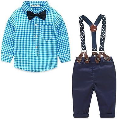 Odziezet Pantalones con Tirantes Bebe Niño Niña Camisa de Cuadros Conjunto Trajes de Bautizo Boda Fiesta