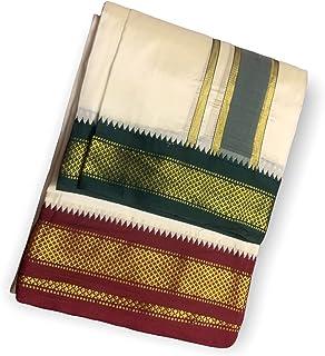 Prakasam Cotton Mens Blended Silk type Fancy Jari Cream Colour Dhoti/Double dhoti (1.28 x 3.60 Meter/ 8 Mulam Dhoti) Only ...
