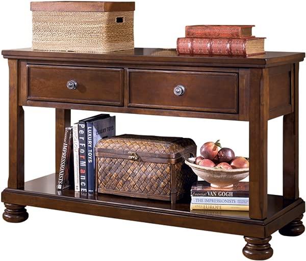 Ashley Furniture Signature Design Porter Sofa Table Rustic Style Entertainment Console Table Rectangular Brown