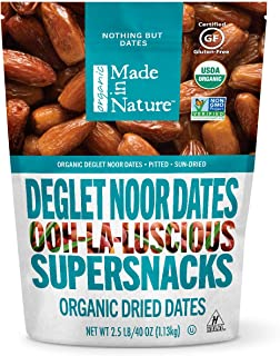Made In Nature Organic Deglet Noor Dates, 40 Ounce (Pack of 1) - Non-GMO, Unsulfured