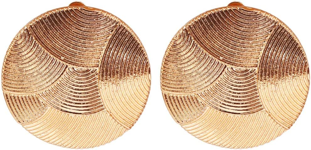 Timesuper Gold Striped Round Clip On Earrings Non Pierced Ears Statement Earring
