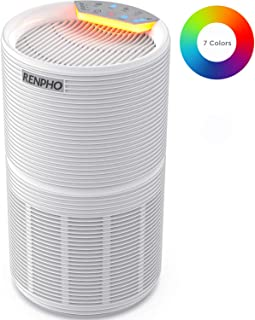 RENPHO Air Purifier for Allergies and Pets Hair with HEPA Filter, Home Large Room 240 SQ.FT, Quiet Compact Air Cleaner Odor Eliminators in Bedroom for Mold, Smoke, Germ, Dust and Pollen, Night Light