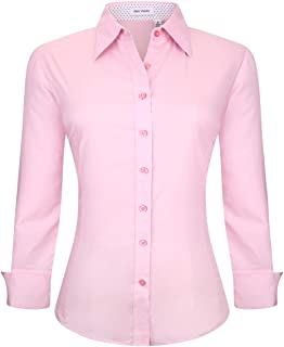 cb4bd097 Alex Vando Womens Button Down Shirts Long Sleeve Cotton Stretch Work Shirt