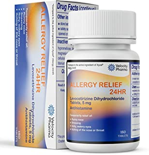 Levocetirizine Dihydrochloride Tablets, USP 5mg   24 Hour Allergy Relief   180 Count