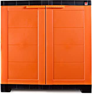 Cello Novelty Compact Plastic Cupboard with Shelf(Orange and Brown)