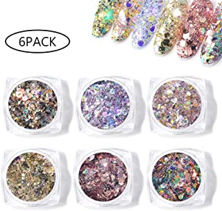 Sparkling Nail Sequins - Hamkaw 6 Boxes Multi-Purpose Flake Cosmetic Sequins Ultra-Thin Holographic Glitter Mixed Glitter for Face Body Hair Nails