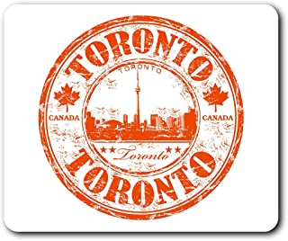 Comfortable Mouse Mat - Toronto Canada Travel Map Stamp 23.5 x 19.6 cm (9.3 x 7.7 inches) for Computer & Laptop, Office, Gift, Non-Slip Base - RM5828