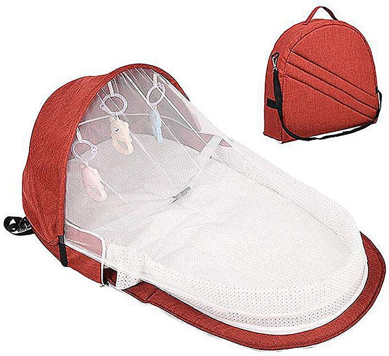Relubby Folding Toddler Cradle Car Portable Breathable Lightweight Bed Newborn Baby Travel Crib Mummy Bags With Mosquito Net Toys Red