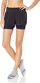 Amazon Brand - Core 10 Women's (XS-3X) Knit Waistband '2-in-1' Run Short with Built-in Compression Short