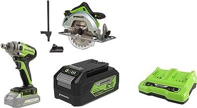 Greenworks Tools 1500907 Sierra Circular, 24 V + Llave de impacto inalámbrica de batería + Batería G24B4 2ª generación + Batería de doble ranura Cargador universal G24X2C