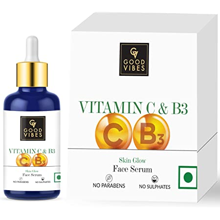 Good Vibes Vitamin C & Vitamin B3 Skin Glow Serum, 30 ml With Anti Aging Properties Helps Reduce Fine Lines and Wrinkles, Naturally Glowing Face Serum For All Skin Types, No Parabens & Sulphates