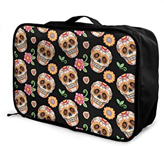 Puppy Pet Emotion Art Travel Lightweight Waterproof Foldable Storage Carry Luggage Large Capacity Portable Luggage Bag Duffel Bag