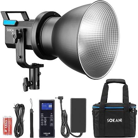 Sokani X60 V2 with Bag Kit COB LED Video Light, 80W 5600K Daylight Balanced CRI96+ TLCI 95+ 5 Pre-Programmed Lighting Effect Wirelessly Adjust Brightness, Bowens Mount