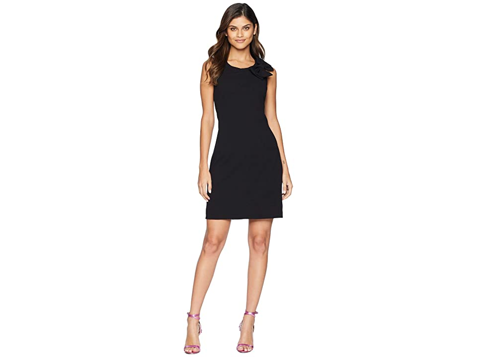 Betsey Johnson Scuba Crepe Dress w/ Bow (Black) Women
