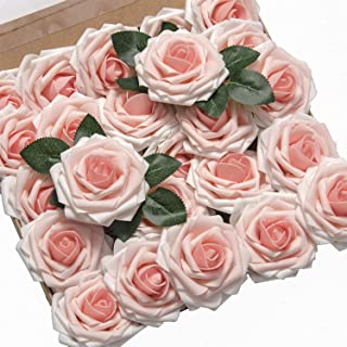 Ling's moment Roses Artificial Flowers 25pcs Realistic Blush Heirloom Fake Roses with Stem for DIY Wedding Bouquets Centerpieces Foral Arrangements Decorations