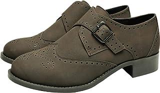 Women`s Wide Width Brogue Oxfords - Low Heel Urban Formal Monk Strap Shoes.