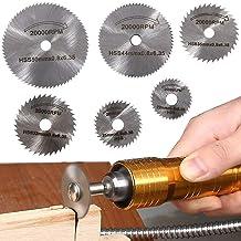 6 hojas de sierra de taladro giratorias, hojas de corte de disco de sierra de acero con mandril de vástago recto de 1/8