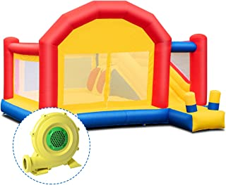 Costzon Inflatable Bounce House, Mighty Slide Castle Bouncer w/ Large Jumping Area, Mesh Walls, Long Slide, Including Oxford Carry Bag, Repairing Kit, Stakes, 13.4 x 11.9 x 9' (with 950W Air Blower)
