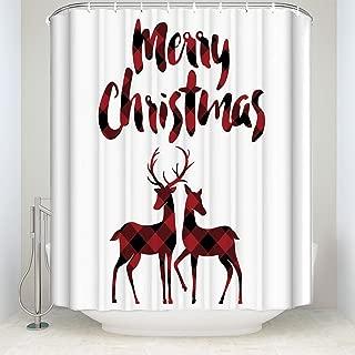 Libaoge Red Black Buffalo Check Plaid Christmas Reindeer Merry Christmas Soap Free Waterproof Polyester Fabric Bathroom Shower Curtain (72x72, Xmas Elk
